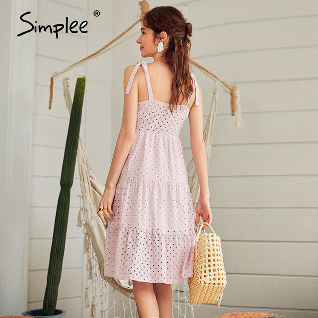 Simplee Casual white women summer beach dress Bow-knot spaghetti embroidery female midi dress backless holiday dress vestidos 5