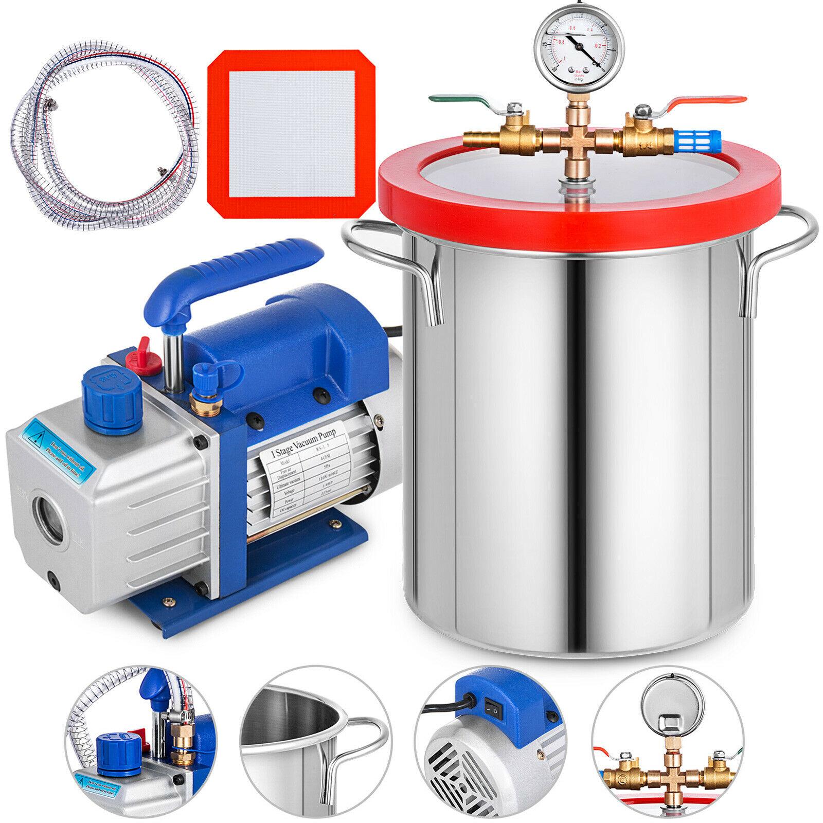 85L / Min 3CFM 3 Gallon Vacuum Chamber Vacuum Pump Epoxy Stainless Steel Shovel