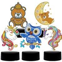 Pintura de diamantes con luz LED para la noche, con forma especial de animales bordado de diamantes, punto de cruz, decoración del hogar de unicornio y búho