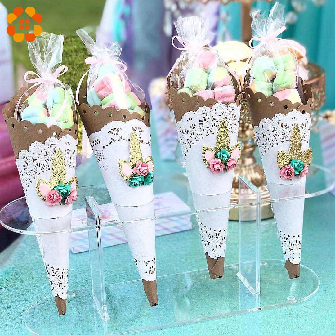 50PCS Rabbit Gift Bag Candy Cones Transprant Plastic Bag Kids Birthday Party Decoration Easter Carrot Candy Bag Easter