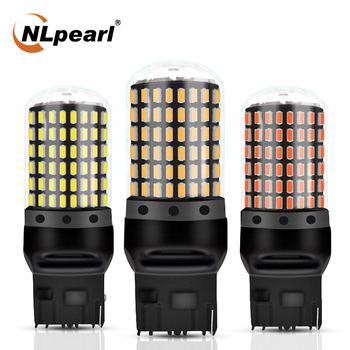 цена на NLpearl 1x Car Signal Lamp W21W Wy21w Led 7440 Car Bulbs 144SMD T20 W21 5W 7443 LED Canbus Auto Turn Signal Lights Brake Lamps