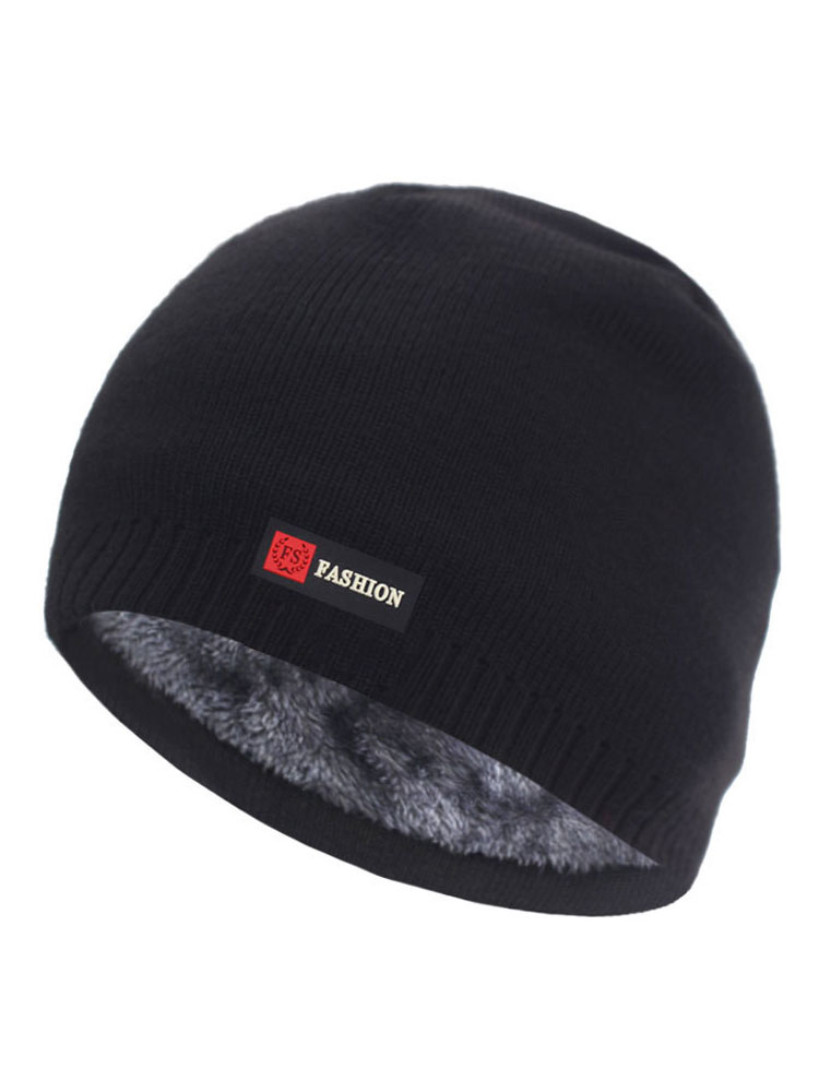 Knitted Hats Beanie-Hat Fur Bonnet Men Cap Gorro Warm Winter Thick Brimless Women