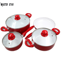 Master Star White Ceramic Coating Red Cookware Set Saucepan &Frying Pan & Milk Pot & Glass Cover Total 7PCS Non stick Fire Use