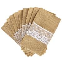 100 Jute Burlap Pouch Lace Bag Wedding Party Home Dinner Tableware Supplies