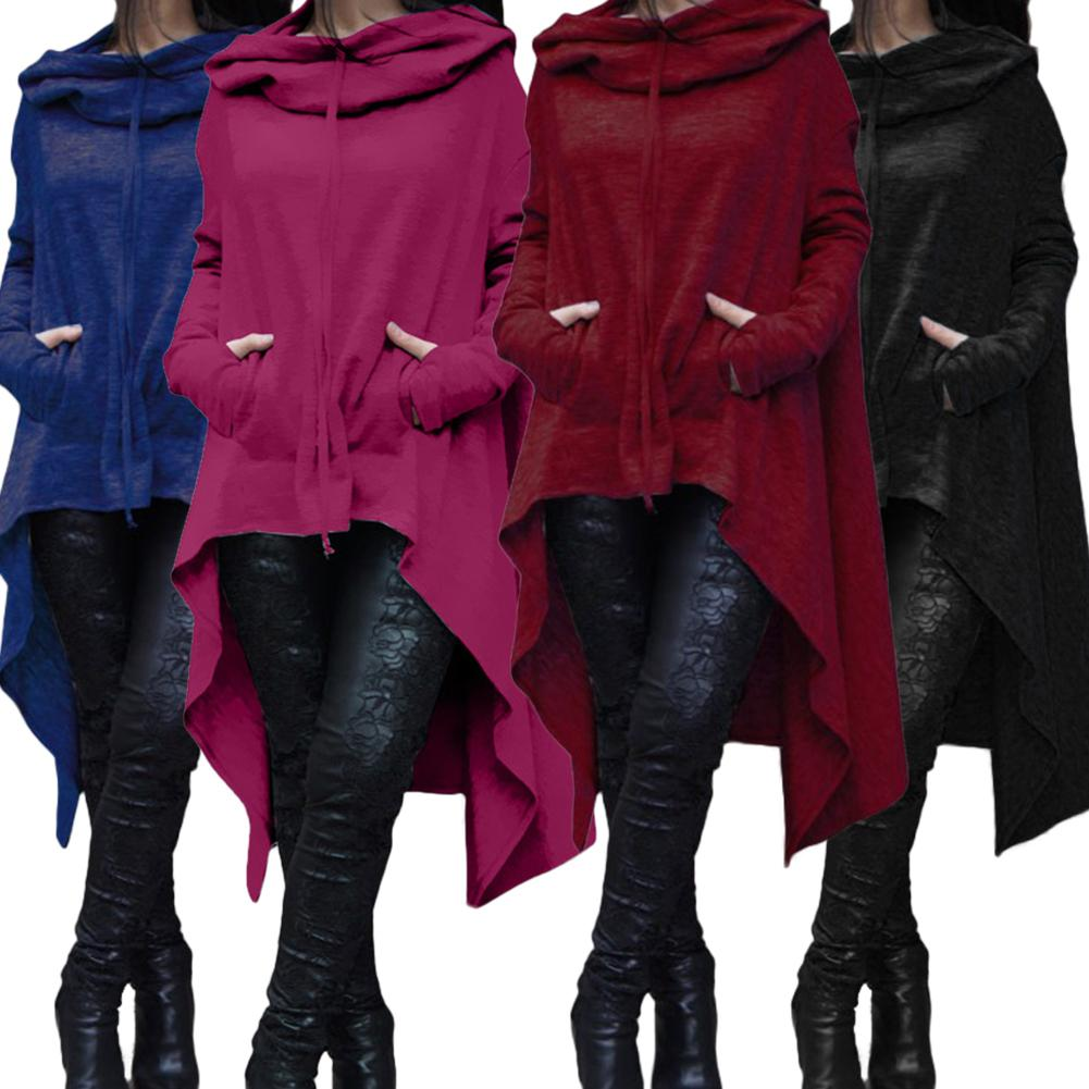 Casual Women Sweatshirt Solid Color Draw Cord Long Sleeve Poncho Loose Irregular Hooded Sweatshirt hoodies For Women's Clothing
