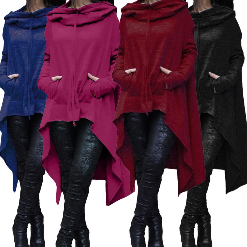 Casual Women Sweatshirt Solid Color Draw Cord Long Sleeve Poncho Loose Irregular Hooded Sweatshirt Hoodies For Women's Clothing