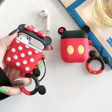 Cute Cartoon Bluetooth Earphone Case for Airpods 2 Protective Cover for Air Pods Box Key Ring Strap Cute Cartoon Silicone 3d lucky rat cartoon bluetooth earphone case for airpods pro cute accessories protective cover for apple air pods 3 silicone