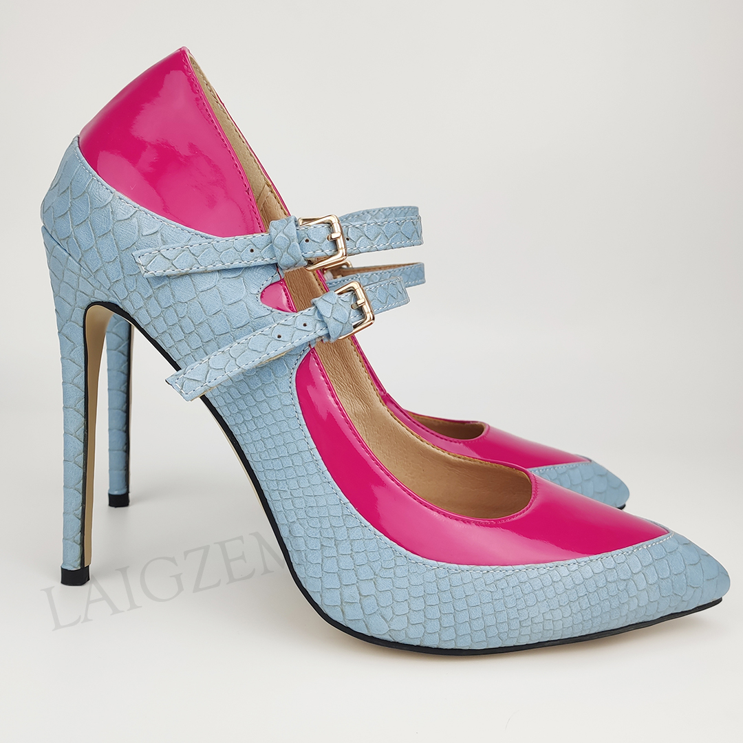 LAIGZEM Women Heels Pointed Toe Buckle Straps Pumps Patchwork Designed Ladies Spring Summer Shoes Woman Zapatos Size 39 45 46 47