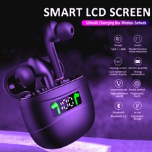Wireless Earbuds Bluetooth 5.2 IPX7 Waterproof Earphones with LED Display Charging Case HD Stereo Built-in Mic Sports Earphones