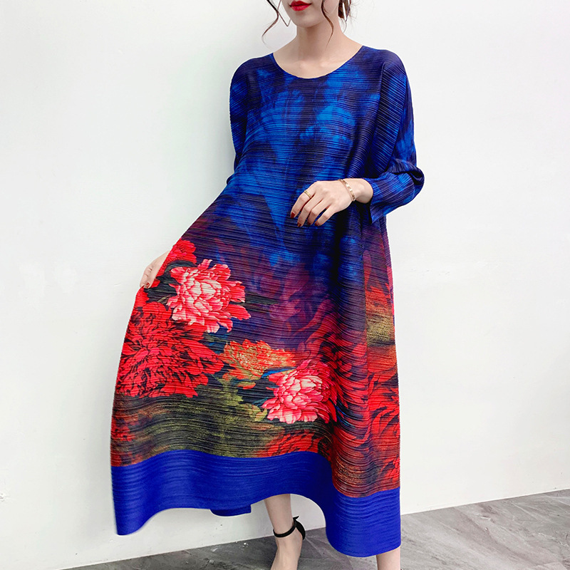 LANMREM 2020 New Spring Round Collar Print Colorblock Mid-length Pleated Dress Women Vintage Loose Big Size A-line Dress PD572