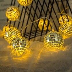 Disco kula lustrzana girlanda żarówkowa led dekoracja świetlna bajkowe oświetlenie na wakacyjna na ścianę okno drzewo Party Yard ogród dzieci sypialnia Living Dor w Girlandy świetlne od Lampy i oświetlenie na