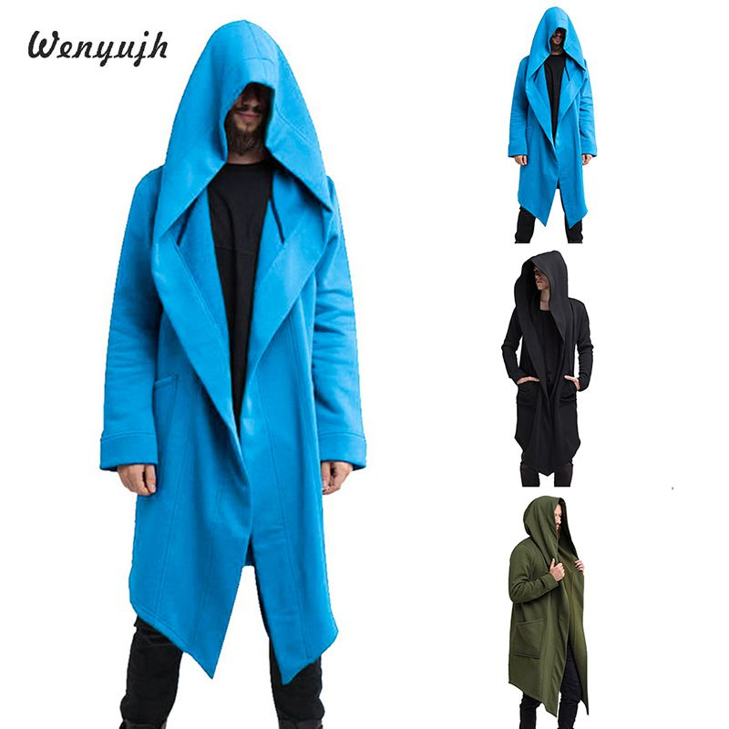 WENYUJH 2019 Autumn Men's Long Mantle Hoodies Outerwear Solid Color Hooded Streetwear Male Loose Long Hoodies Sweatshirt Cloak