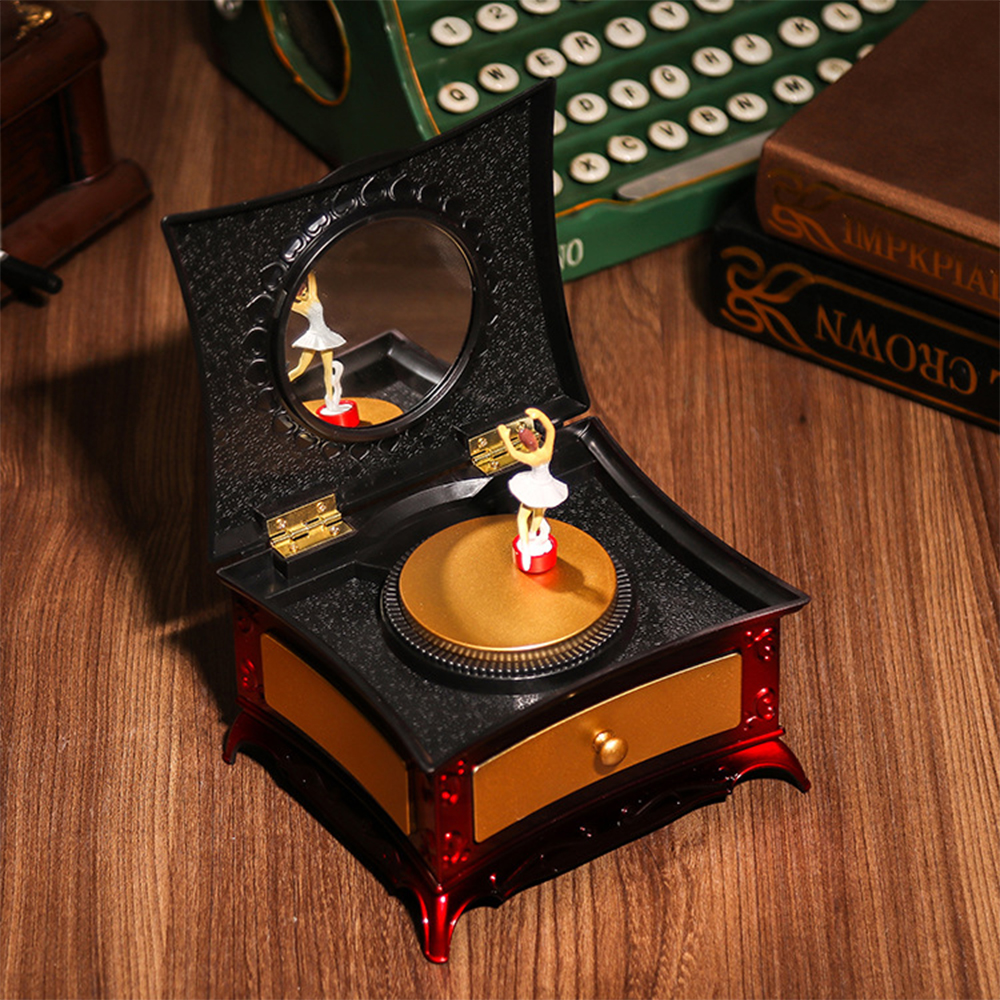 Music Box Vintage Typewriter Style Mechanical Music Box Gift Jewelry Box with Drawer Romantic Classical Style Home Decoration