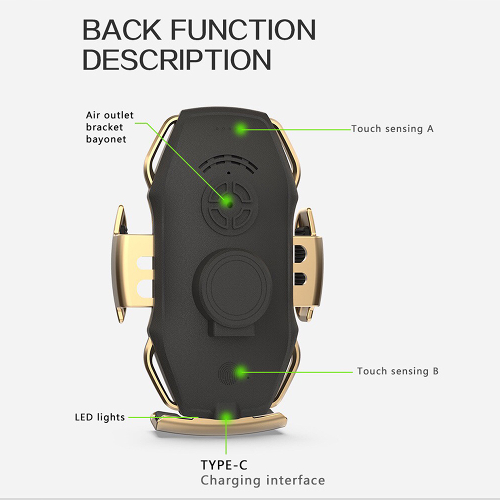 12Two-Point Smart Induction Wireless Charger Car Mount 10W Fast Charge Holder