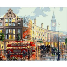 DIY Bus Square Modern Picture Canvas Painting by numbers Oil On Handmade Landscape Poster Nordic