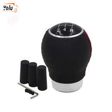 YOLU 5 Speed Black Leather&Aluminum Shift Knob Threaded With 3 Adapters Gear Shifter
