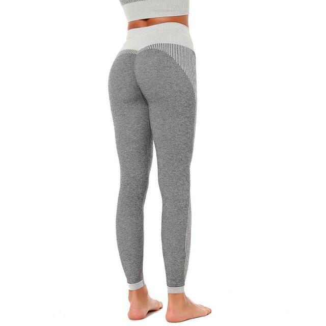 SVOKOR Fitness Leggings Women Sexy Seamless Gray Striped Leggings High Waist Workout Pants Push Up Slim Elasticity Gym Pants