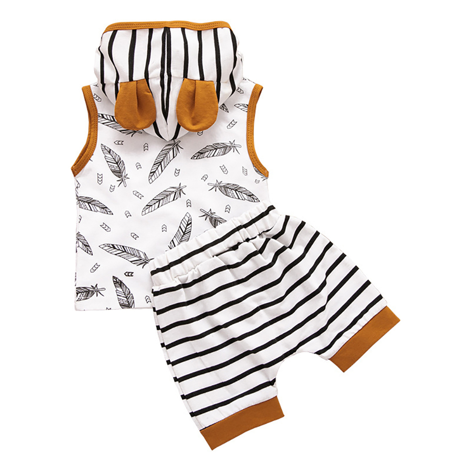 2Pcs//Set Summer Toddler Kids Pants Feather Print Small Ears Hooded Vest Striped Pants for Summer Vacation