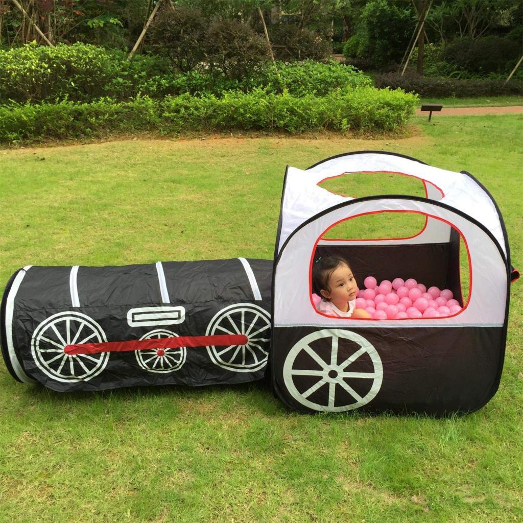 Tente de jeu pour enfants | Playhouse d'intérieur/extérieur pliable pour les tout-petits, les garçons et les filles (Train de Locomotive), noir