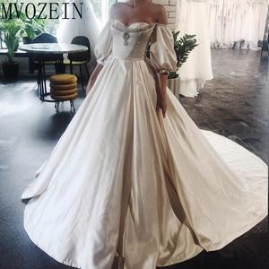 Image 3 - Vintage Wedding Dresses 2019 Satin Bridal Gowns Off The Shoulder Full Sleeves Hand Beading Wedding Dress robe de mariage