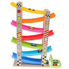 Wooden Train 7-Layer Race Track & 8 Mini Inertia Car Sliding Toy Vehicle Baby Toddler Motor For