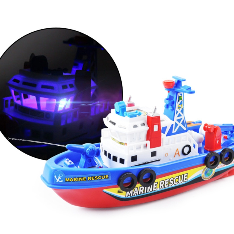 NEW Fast Speed Music Light Electric Marine Rescue Fire Fighting Boat Toy
