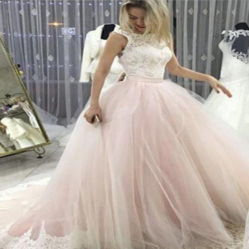 Pale Pink Court Train Wedding Dress with Lace Appliques Sleeveless Bridal Dress Wedding Dress