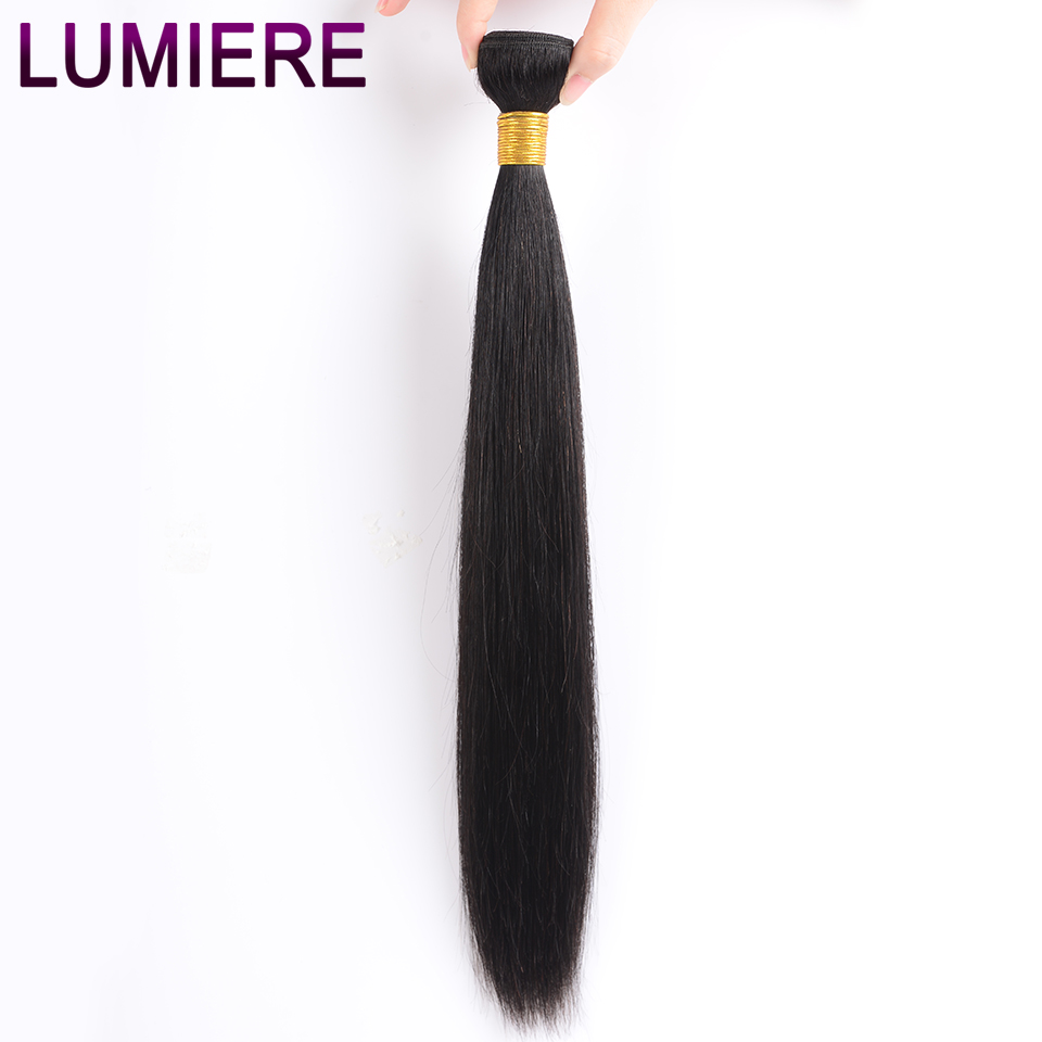 Lumiere Hair Brazilian Straight 3 Bundles With Frontal Human Hair Weave Bundle 13x4 Lace Frontal With Bundles Free Part Non Remy-in 3/4 Bundles with Closure from Hair Extensions & Wigs    3