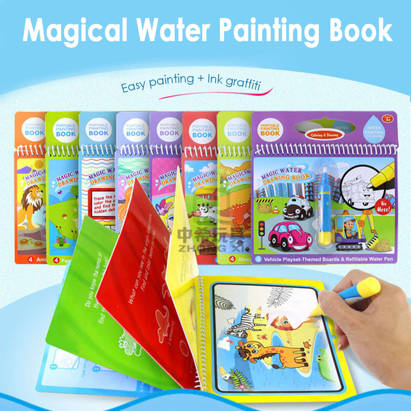 Montessori Magic Water Drawing Book Coloring Book Doodle & Magic Pen Painting Drawing Board For Kids Toys Xmas Birthday Gift