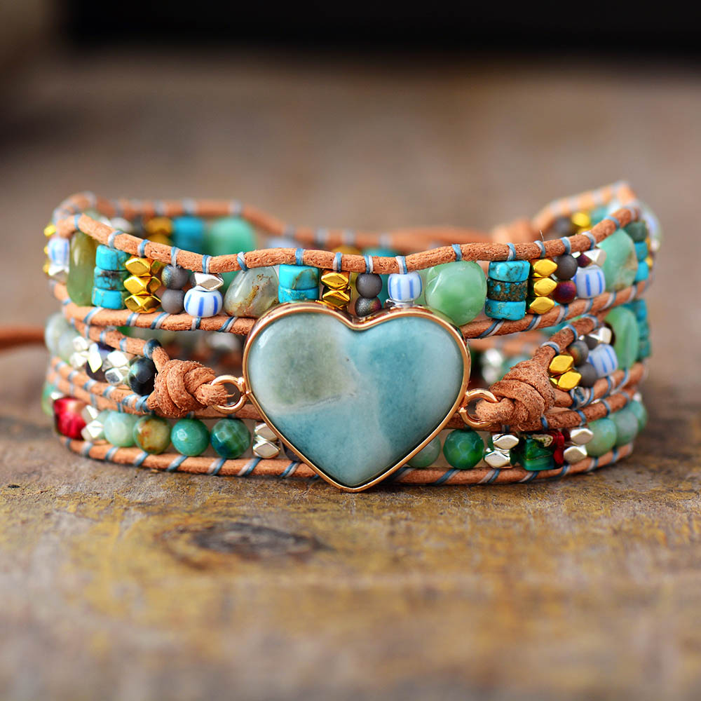 Новый духовный браслет в форме сердца из амазонита с кожаной обмоткой с каменными бусинами в стиле бохо, классические ювелирные изделия, би...