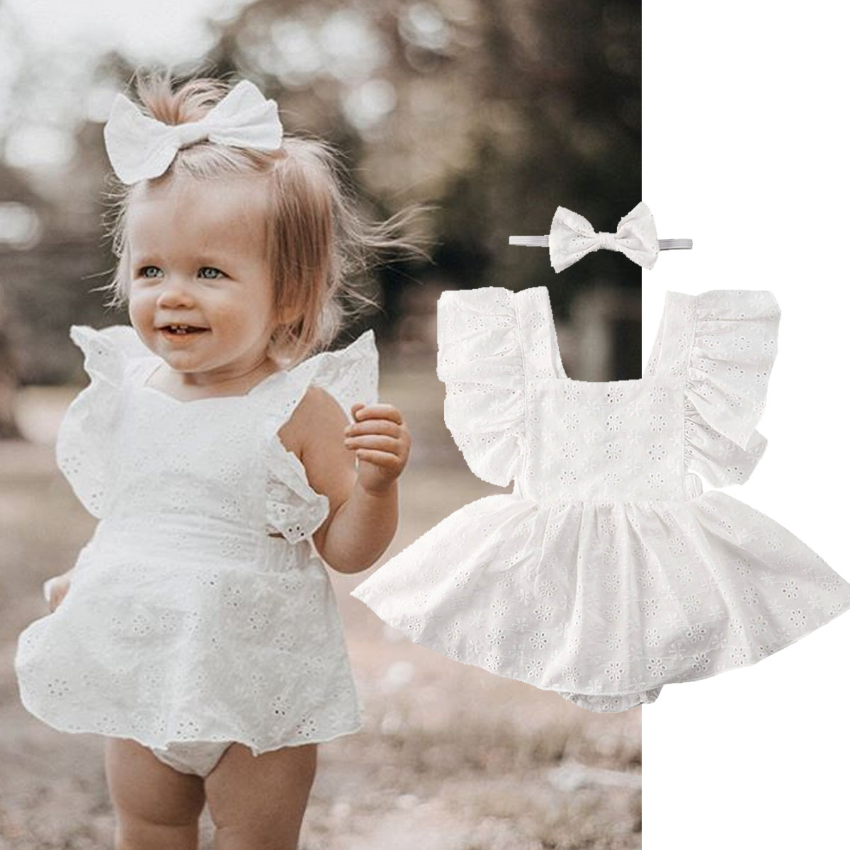 2020 Infant Newborn Baby Girl Romper Dress Clothes Summer White Lace Princess Dress Bodysuit Girls Tutu Dresses Outfits 0-24M