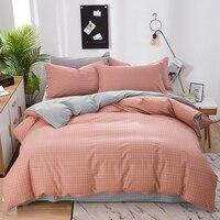 3/4Pcs/Set Classic Pure Cotton Bedding Set 4 sizes Pink Plaid Bed Linen Duvet Cover Set Bed Sheet AB Side Duvet Cover 2020 Bed