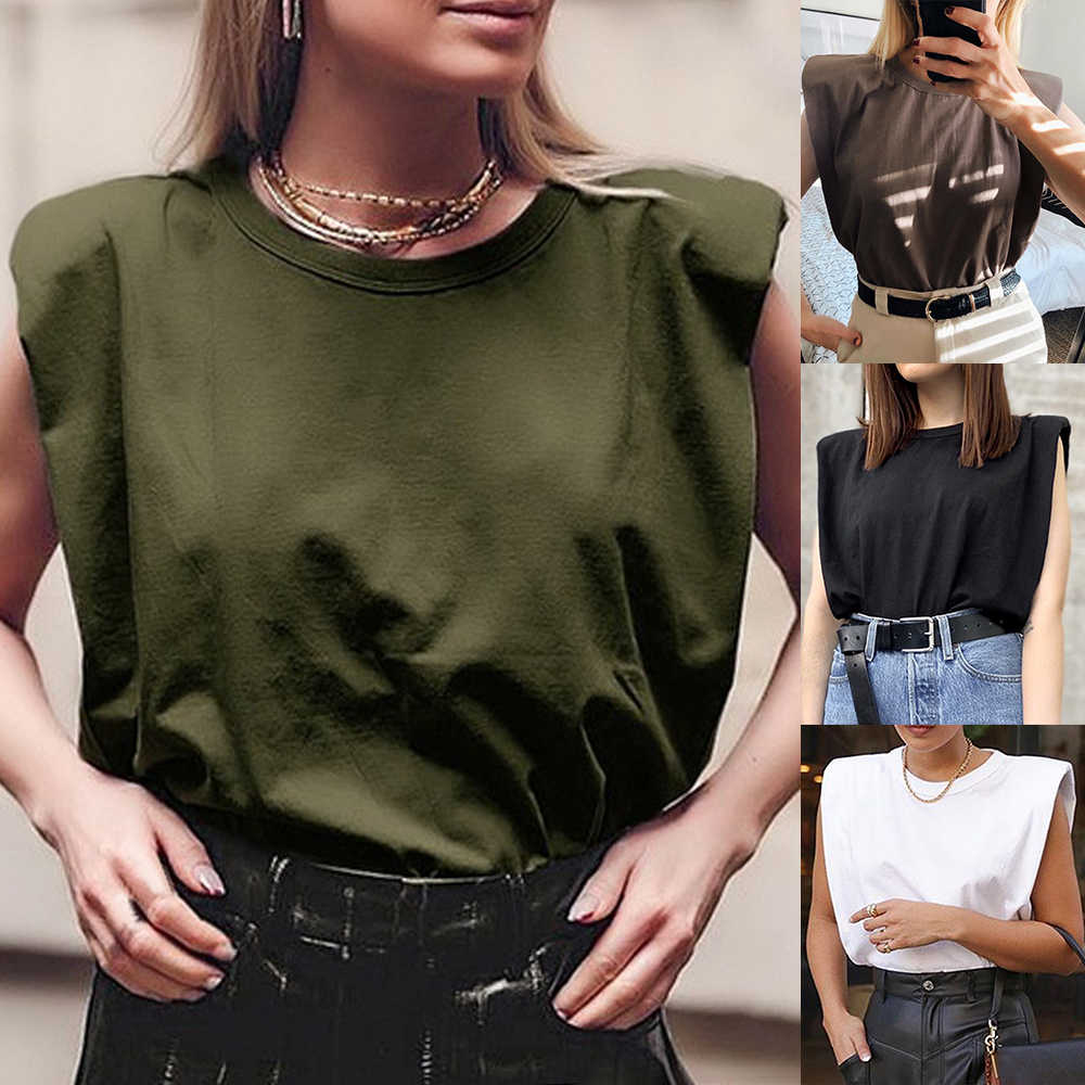 2020シンプルなデザイン肩パッド女性トップス綿固体快適白黒oネックカジュアルtシャツ夏の女性の服