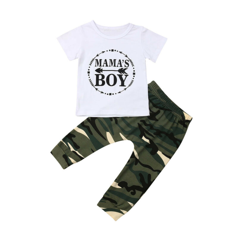 Emmababy Newborn Kids Baby Boys Summer Tops T-shirt Camo Pants Outfits Clothes Tracksuit