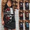Skull Print Women Sleeveless Shirt Dress Summer Gothic Style Ladies Casual V Neck Loose Short Mini Dresses Tank 1