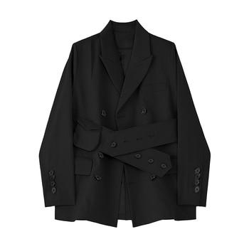 [EAM]  Women Khaki Button Split Big Size Blazer New Lapel Long Sleeve Loose Fit  Jacket Fashion Tide Spring Autumn 2020 1Z726