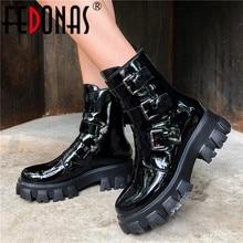 FEDONAS Mode Gesp Vrouwelijke Motorlaarzen Nachtclub Schoenen Vrouw Winter Echt Leer Vrouwen Enkellaarsjes Platform Laarzen