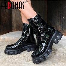 FEDONAS אופנה אבזם נקבה אופנוע מגפי לילה מועדון נעלי אישה חורף אמיתי עור נשים קרסול מגפי פלטפורמת מגפיים