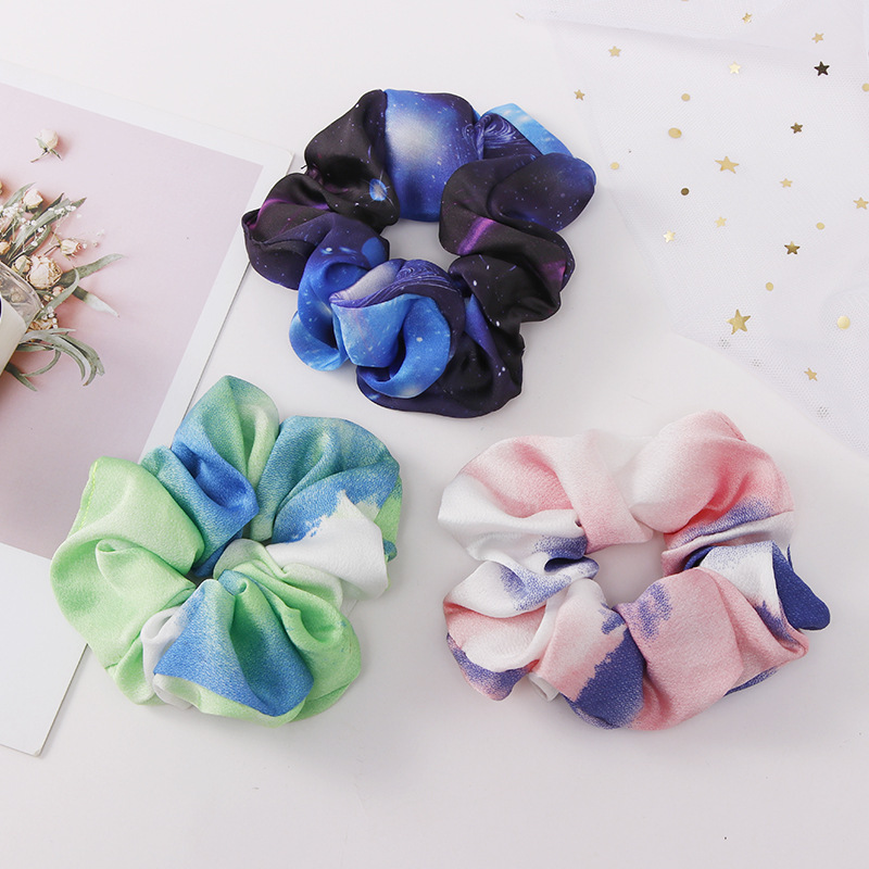 Sweet Scrunchie Fashion Starry Sky Print Elastic Hair Bands For Women Ponytail Holder Hair Scrunchies Headband Hair Accessories