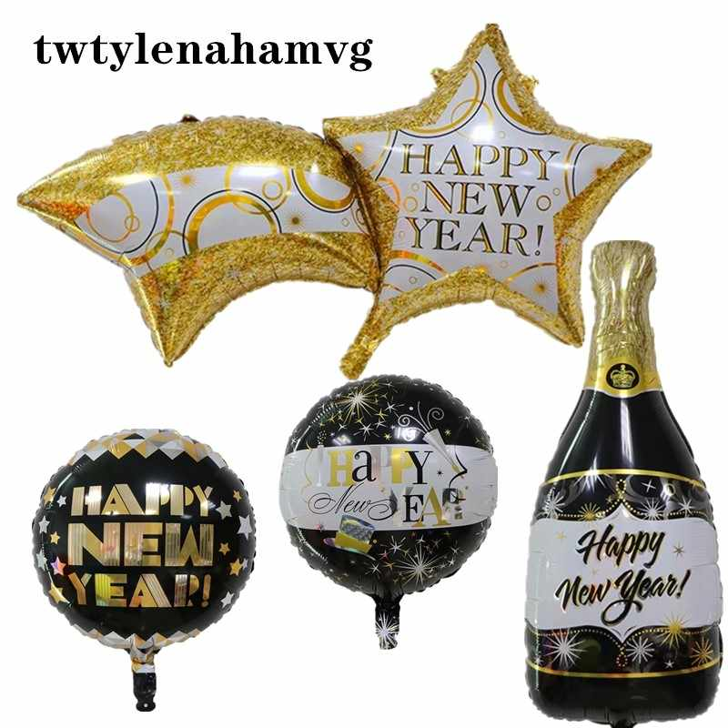 HAPPY NEW YEAR Black Golden Wine Bottle Christmas Theme Party Layout Site New Foil Balloon Wedding Decor  kids Inflatable Toys