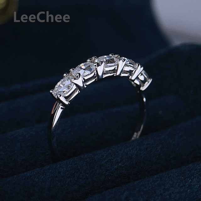 3*4MM Oval Moissanite Ring VVS 5 Pieces Lab Diamond Fine Jewelry for Girl Wedding party Gift Real 925 Sterling Silver Band Ring 3