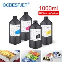 1000 ml 4 cores/conjunto led tinta uv para dx4 dx5 dx6 dx7 cabeça de impressão para epson 1390 r1800 r1900 4800 4880 7880 9880 impressora uv do leito