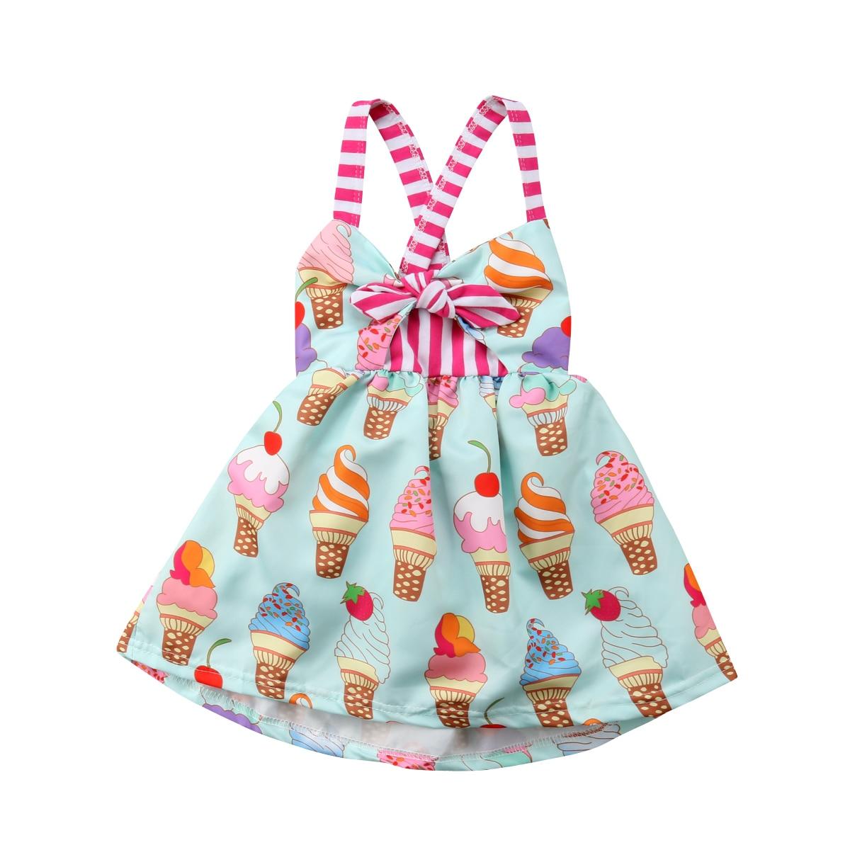 Платье с принтом мороженого для маленьких девочек от 6 месяцев до 5 лет, вечерние платья-пачки с открытой спиной и лямкой на шее, сарафан
