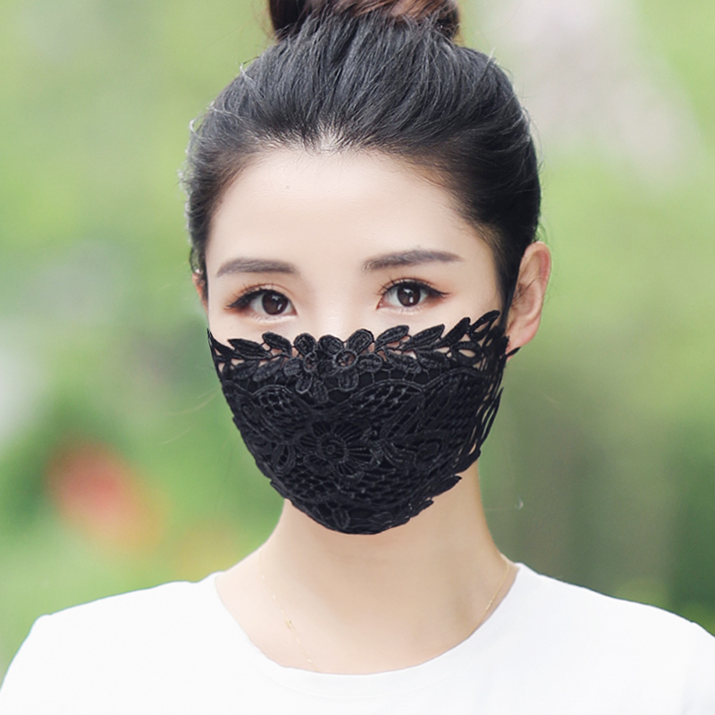 EXCARGO Sexy Lace Mask For Women Breathable Dust-Proof Face Mask Breathable Sun Protection Women's Black Washable Cotton Mask