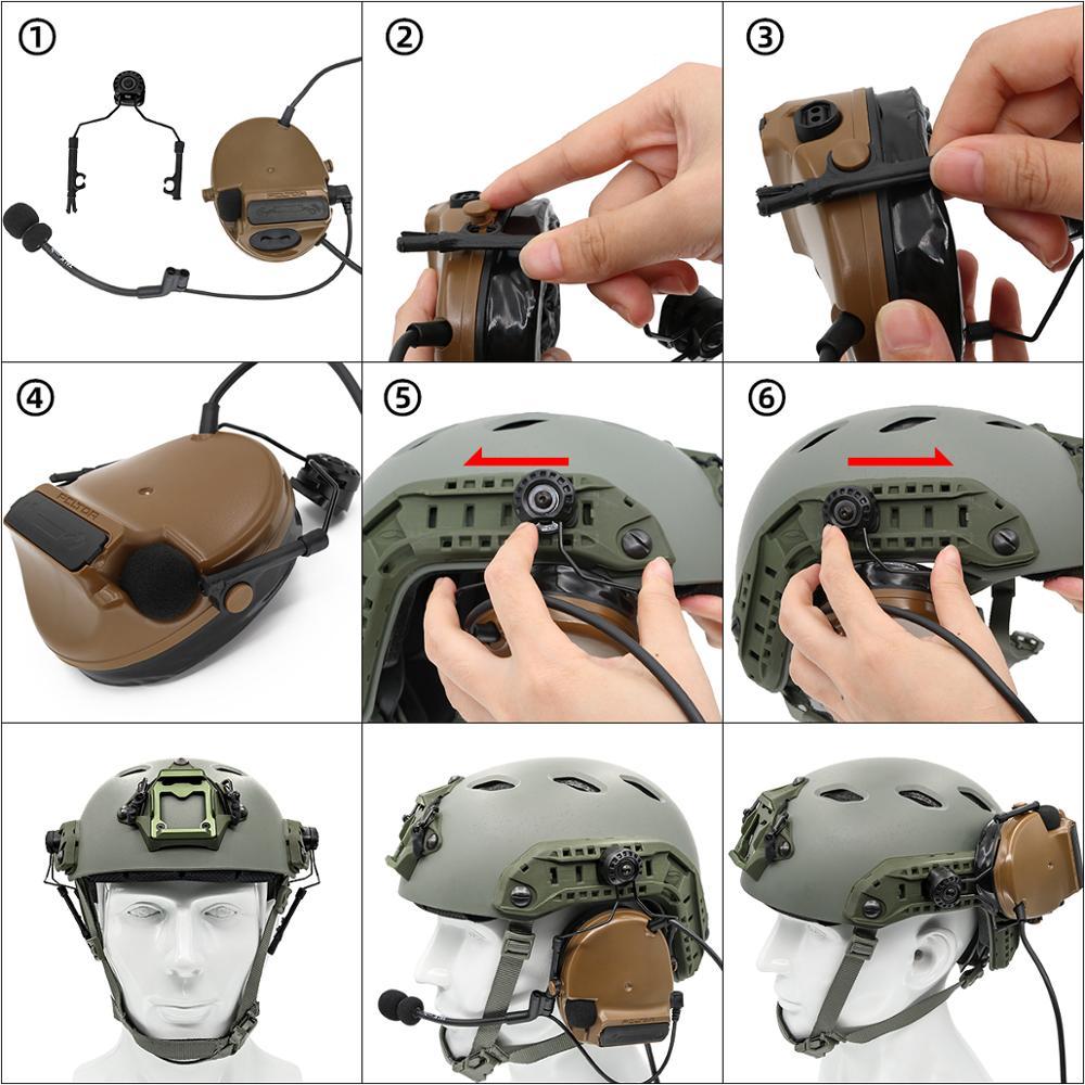 Купить с кэшбэком ARC Rail Adapter Helmet bracket Left & Right Side Attachments for Peltor Comtac Headphones,1 Pair BK