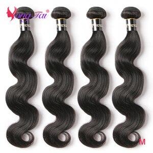 YuYongtai Peruvian Body Wave Hair Bundles 4Pcs Non-Remy Human Hair Bundles 8-30 Inch Hair Extensions Medium Ratio Natural Color
