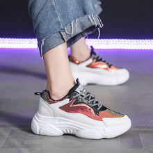 Woman Fashion Shoes 2019 Autumn New Women Vulcanized Shoes Breathable Trend Thick Bottom Increase Shallow Sports Shoes Women