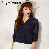 SuyaDream Women Solid Silk Blouses 100%Silk Turn Down Collar Long Sleeved Blouse Shirt 2019 Office Lady Shirts Navy