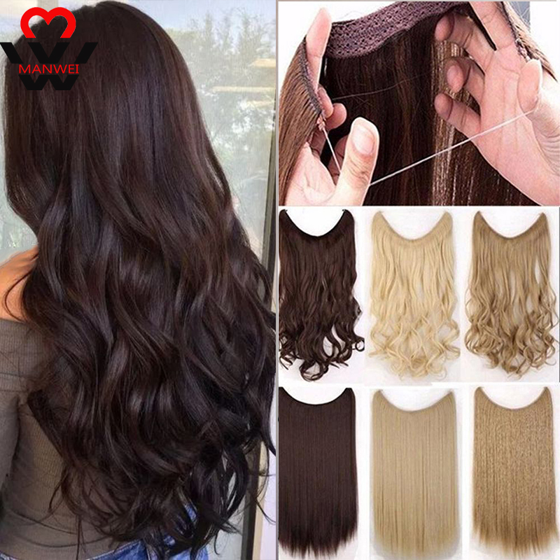 MANWEI 60cm Women Fish Line Hair Extensions Brown Blonde Natural Wavy Long High Tempreture Fiber Synthetic Hairpiece