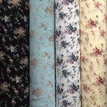 75D tissu en mousseline de soie fleurs bleues positionnement imprimé des deux côtés pour vêtements et écharpe CH214